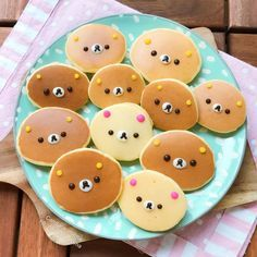 A lovely good day starts by lovely breakfast! Poor rilakuma bears, staying on the hot plate and ready to be eaten😆 Cute Snacks, Cute Desserts, Cute Food, Yummy Food, Japanese Sweets, Japanese Food Art, Japanese Lunch Box, Pancake Art, Kawaii Dessert