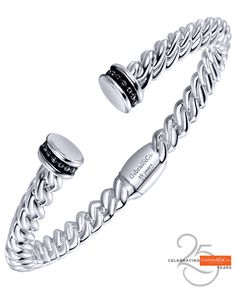 Celebrating 25 Years. A silver stainless steel Jubilee Bangle.