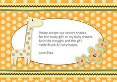 Print your own invitation. Baby Shower Thank You - Giraffe Poka Dots Design