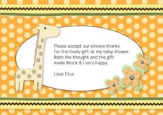 Print your own invitation. Baby Shower Thank You - Giraffe Poka Dots Design
