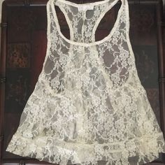 Lace tank top. Off white. Looks great over a tank top or bralette! I usually wear a small and it fits me nicely. Forever 21 Tops Tank Tops