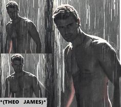 Theo sexy and shirtless in the rain, black and white.