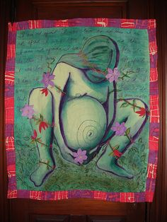 This image of a birthing quilt also belongs on 4 boards and therefore has a LullaBoard Pin Score of 4. It features a Bump (1).  It alludes to something Medical (1).  It has a lot of Green (1).  It is extremely creative (1).   #quilts #pregnancy