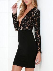 Black Long Sleeve Glamorous Crochet Lace Bodycon Dress -SheIn(Sheinside)