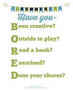 Are you BORED? summer activity chart free printable!