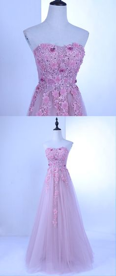 Sweetheart neck pink tulle long lace appliqué sweet 16 prom dress, evening dress #prom #dress #promdress