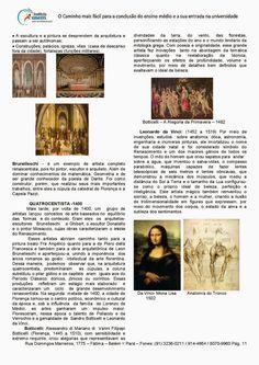 Arte - Teatro e Música - Artes Visuais Ensino Médio                                  Para receber atualizações das matérias:   Digite seu e... Mona Lisa, Study, How To Plan, Artwork, Professor, 1, Gardening, Crafts, The Arts