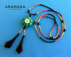 Peyote necklace, Mexican necklace, Mexican Jewelry, Huichol Necklace, Huichol jewelry, Native american, Huichol art, Flower necklace CPP-009