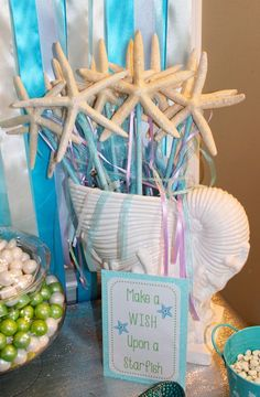 Project Nursery - Mermaid Under the Sea Birthday Party -  Dessert and Candy Table  - Starfish Wands created by my husband #Mermaid #Party #Birthday #Sea #Starfish