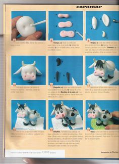 Fondant cow Cake Decorating Tutorials How To's Polymer Clay Creations, Polymer Clay Crafts, Diy Clay, Fondant Figures, Bolo Minion, Cow Cakes, Decoration Patisserie, Farm Cake, Fondant Animals