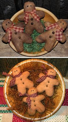 Primitive Gingerbread Men Tucks EPATTERN $5.00