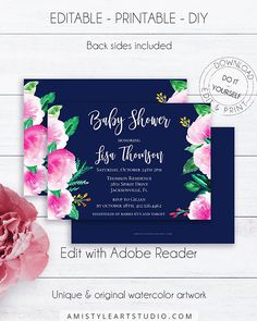 Navy blue baby shower invite, with nice and bright watercolor flowers in rustic style.This printable baby shower invitation listing is for an instant download EDITABLE PDF so you can download it right away, DIY edit and print it at home or at your local copy shop by Amistyle Art Stuido on Etsy