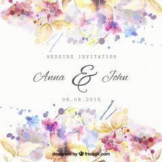 Convite floral do casamento no estilo da aguarela Vetor grátis