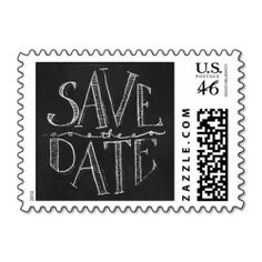 Chalkboard Save the Date Typographic Postage