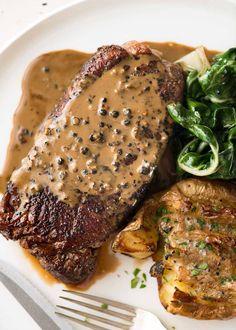 Overhead photo of Creamy Peppercorn Sauce on steak.