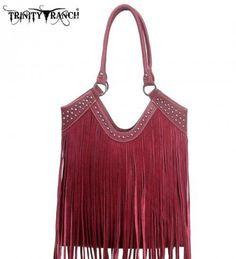 Montana West TR09-8560 Trinity Ranch Fringe Design Western Handbag Purse-Red