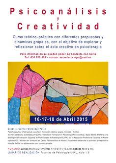 Curso de Psicoanálisis y Creatividad en Universidad de Salamanca 16-17 y 18 de Abril   AFART Curriculum, Proposals, University, Universe, Creativity, Resume