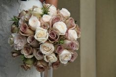 Vintage Rose Wedding Bouquet Love this color pallet for the centerpieces Taupe Wedding, Dusty Rose Wedding, Rose Wedding Bouquet, Bridal Flowers, Rose Bouquet, Floral Wedding, Vintage Rosen, Bride Bouquets, Amnesia Rose
