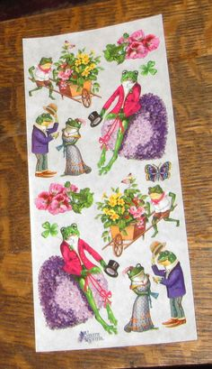 9 Sheets Wonderful new Violette Victorian cute humanized frogs Brand Stickers, Decoupage Art, Retro Floral, Frogs, Etsy Store, Card Making, Victorian, Scrapbook, Illustration