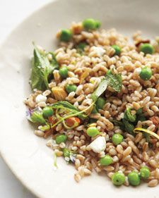 farro, pea & goat cheese salad with almonds & mint.