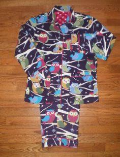 WOMENS small NICK and NORA PAJAMAS sleepwear PJs purple FLANNEL OWL design CUTE!