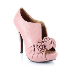 Amazon.com: Rosette Foxy52 Platform Ankle Peep Toe Bootie Pump: Shoes via Polyvore