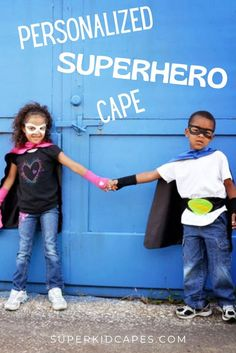Our handmade superhero capes are perfect for any holiday or occasion. Whether you are looking for a halloween costume or need a gift for a birthday, Easter basket, or Christmas, our capes will bring a smile to the face of boys and girls of all ages.This unique personalized superhero costume comes double sided with an outside color and contrasting inside color. Dress it up with our superhero mask, hero belt, or gloves. Check out our 21 color options at superkidcapes.com. Superhero Capes For Kids, Superhero Dress Up, Superhero Party, Orange Gloves, Green Gloves, Boy Costumes, Super Hero Costumes, Halloween Costumes