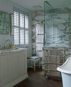 Marble slab wall & shower with herringbone floors. Photography by James McDonald. Compact Bathroom, Small Space Bathroom, Bathroom Marble, Marble Bath, Master Bathroom, Ideal Bathrooms, Beautiful Bathrooms, Devine Design, Dream Bath