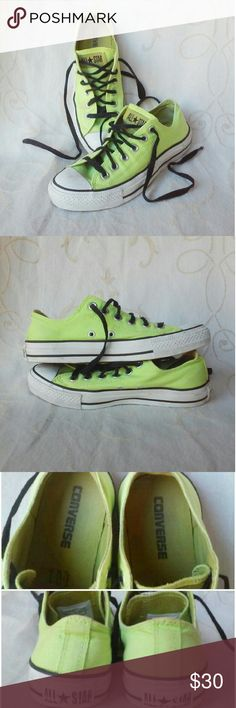 Lime Green Low Top Converse All-Stars EUC, Barely worn, lime green low top converse sneakers.  Almost new condition, with minor discoloration on the white.  Very clean.  They're more green and less yellow, in person.  Very cute, I just never wear them, so they're just taking up space in my closet! Converse Shoes Sneakers