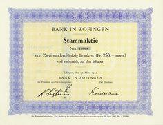 HWPH AG - Historische Wertpapiere - Bank in Zofingen / Zofingen, 17.03.1932, Stammaktie über 250 Franken Banks, Savings Bank, Personalized Items, Switzerland, Money, Princess, Vintage, Finance, Safe Room