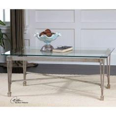 Vijai Elegant Silver Leaf Metal Gl Coffee Table Treasurecombers
