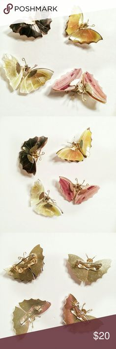 """Beautiful Handmade Seashell Butterfly Brooches Set of 4 handmade brooches made from a variety of cut seashells assembled on goldtone backings. Each butterfly pin is approximately 1.75"""" wide at butterflies' wingspan, by 1.25"""" high. Prefer to sell as a set but would consider selling them individually. Jewelry Brooches"""