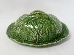 Bordallo Pinheiro Majolica Cabbage-Green Portuguese Oval Butter Server Domed Lid in Pottery, Porcelain & Glass, Porcelain/ China, Other Porcelain/ China   eBay