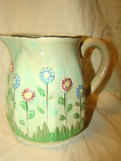 Vintage Mid Century Floral Ceramic Water Pitcher Made in Japan | eBay