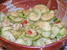 "Another pinner said ""This is without a doubt, by far my favorite cucumber salad! For a long time, I didn't want to give out the recipe to anyone. But now, I think I should share the love!"""