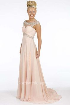 8979021cae2b A-Line Empire Scoop Floor-Length Cap-Sleeve Beaded Chiffon Prom Dress With