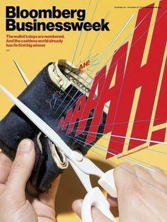 Bloomberg Businessweek: Das Wirtschaftsmagazin gibt Geldbörsen eine Stimme und lässt sie vor Schmerz aufschreien. Grund: Ihre Tage scheinen gezählt.