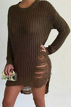 Enjoy a day or night out with this comfortable yet stylish sweater dress! Featuring long sleeves, distressed side, round neck, and high low hem.