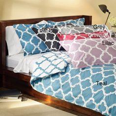@Overstock.com - Lyon 300-thread Count Cotton Percale Patterned 3-piece Duvet Cover Set