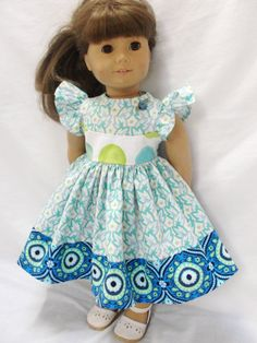 American Girl Doll Dress  Lime & Blue Summer