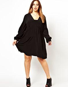 Image 4 ofASOS CURVE Smock Dress With V Neck