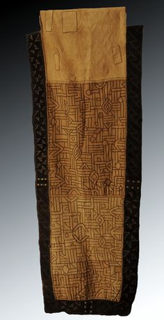 Africa | A Kuba Woman's piled and embroidered Ceremonial Skirt, Democratic Republic of Congo | circa 1900