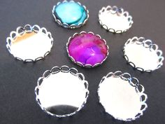 50 Silver Plated Brass  Cabochon Settings  18mm  Scallop Laced Edge by theglassconnection on Etsy