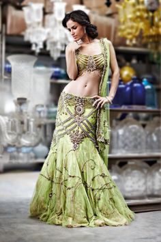 Outfit by:Frontier Raas, green lehenga, wedding reception, Indian wedding