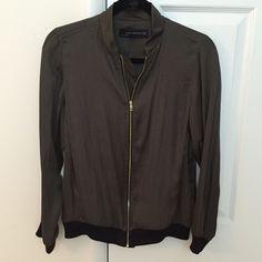 Zara Satin Bomber Jacket Size: XS - Runs big - Olive green satin - Black knit wrist and waist - Gold zipper - Worn once - Like new Zara Jackets & Coats