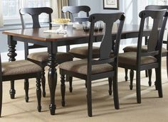 Liberty Furniture Abbey Court Rectangular Dining Table in Black, Cherry Dinette Sets, Dining Room Furniture Sets, Rectangle Kitchen Table, Dinette Chairs, Furniture, Liberty Furniture, Side Chairs Dining, Table Furniture, Dining Table