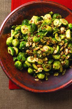 Brussels sprouts are tossed in lemon, butter, parsley, and toasted almonds for a twist on the classic dish. This would be a hit as a side.