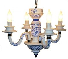 """Blue and White Chandelier (Blue and White) (16""""H x 22""""W x 22""""D) by JT Lighting, http://www.amazon.com/dp/B005MUCYP2/ref=cm_sw_r_pi_dp_cv6Srb040DPE3"""