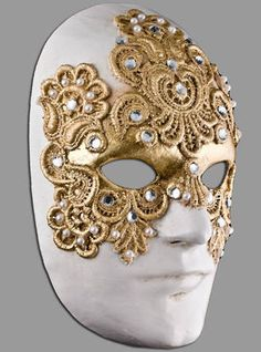 Venetian Masquerade Full Face Mask- Volto Macrame Gold Male