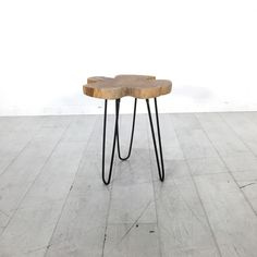 Mahogany Clover End Table. - Contemporary end table with steel hairpin legs and a reclaimed mahogany slab top